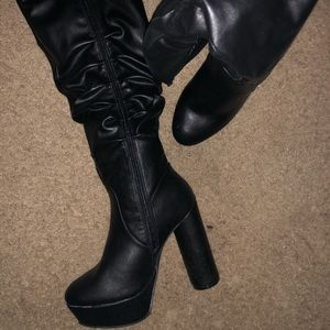 NEW !!! Knee High Black Faux leather Boots.